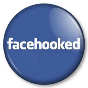 FACEHOOKED Pinback Button Badge Hooked on Facebook? This is the badge for You!